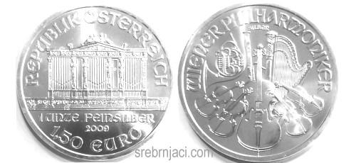 Investicijski srebrnjak 1,5 euro Wiener Philharmoniker