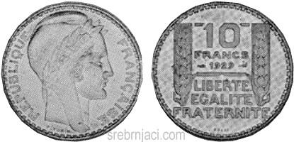 Srebrnjak 10 francs od 1929. do 1939.