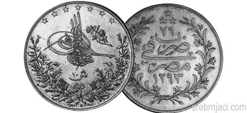 Srebrnjaci 10 kurus od 1884. do 1913.