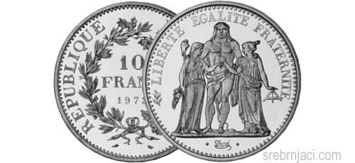 Srebrnjak 10 francs od 1965. do 1973.