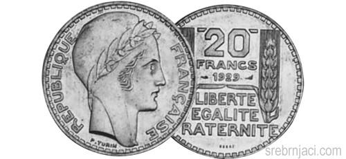 Srebrnjak 20 francs od 1929. do 1939.