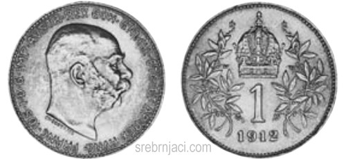 Srebrnjak 1 corona Franc Ios. od 1892. do 1916.