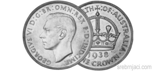 Srebrnjak 1 crown Georgivs VI, od 1937. do 1938.