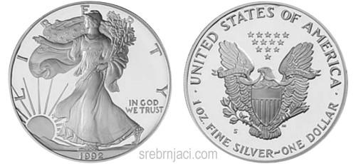 Investicijski srebrnjak 1 dollar Američki orao (American Eagle)