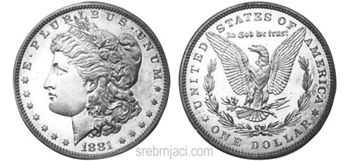 Srebrnjak Morgan dollar