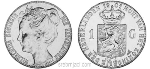 Srebrnjak 1 gulden Wilhelmina 1898-1917