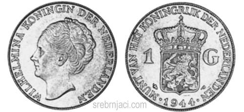 Srebrnjak 1 gulden Wilhelmina 1922-1945