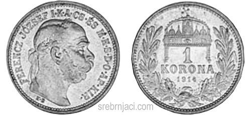 Srebrnjak 1 korona Ferencz Jozsef od 1906. do 1916.