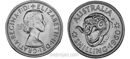 Srebrnjak 1 schilling Elizabeth II