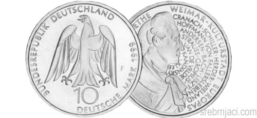 Srebrnjaci 10 deutsche mark, 1998-2001, komemorativni