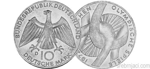 Srebrnjaci 10 deutsche mark 1972-1997, komemorativni