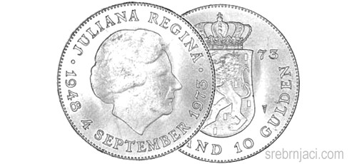 Srebrnjak 10 gulden Juliana