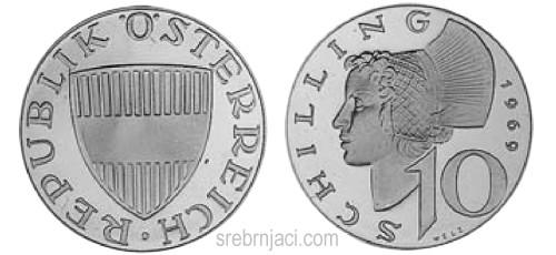 Srebrnjak 10 schilling, od 1957. do 1973.