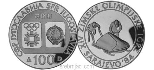 Srebrnjak 100 dinara Zimske olimpijske igre Sarajevo, 1984, bob