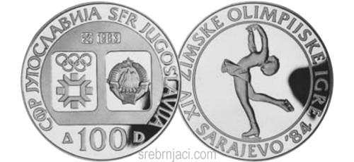 Srebrnjak 100 dinara Zimske olimpijske igre Sarajevo 1984, umjetničko klizanje
