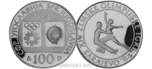 Srebrnjaci 100 dinara Zimska olimpijada Sarajevo 1984