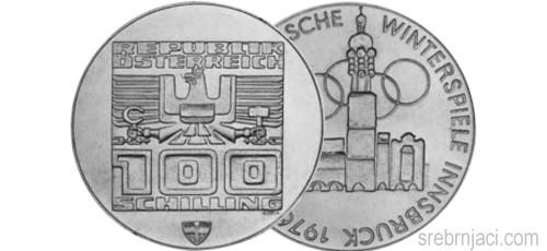 Srebrnjaci 100 schilling od 1974. do 1979.