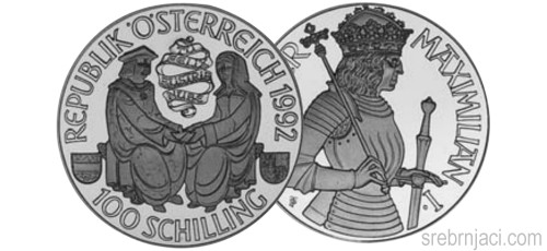 Srebrnjaci 100 schilling od 1992. do 2001.
