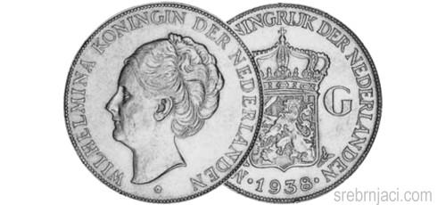 Srebrnjak 2 1/2 gulden Wilhelmina 1929-1940