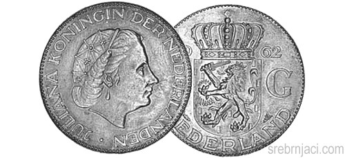 Srebrnjak 2 1/2 gulden Juliana 1959-1966