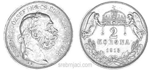 Srebrnjak 2 korona Ferencz Jozsef od 1912. do 1914.