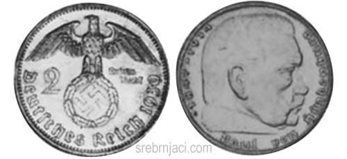 Srebrnjak 2 reichsmark Hindenburg 1936-1939