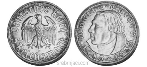 Srebrnjak 5 reichsmark Martin Luther 1933