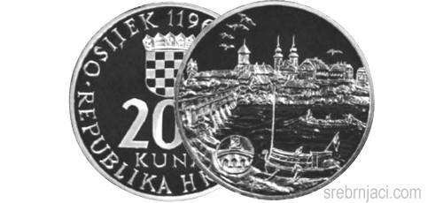 Srebrnjak 200 kuna Grad Osijek, 1996