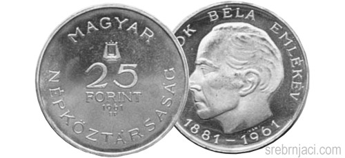 Srebrnjak 25 forint Bartok Bela, 1961.