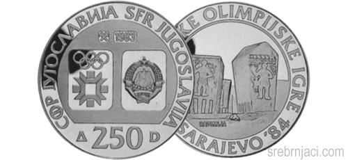 Srebrnjak 250 dinara Zimske olimpijske igre Sarajevo, 1984, stećak Radmilja