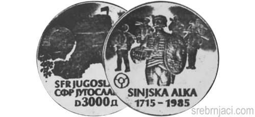 Srebrnjak 3000 dinara Sinjska Alka 1985