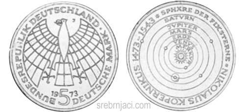 Srebrnjak 5 deutsche mark 1952-1979, komemorativni
