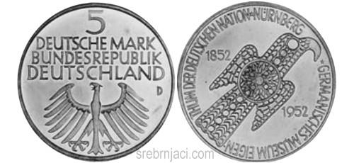 Komemorativni srebrnjak 5 deutsche mark Nurnberg 1852-1952