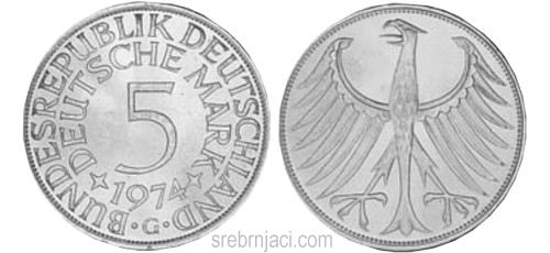 Srebrnjak 5 deutsche mark 1951-1974