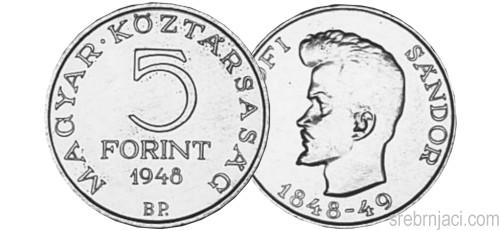 Srebrnjak 5 forint Petofi Sandor 1948.