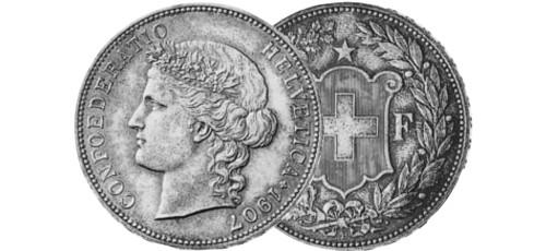 Srebrnjak 5 franc Helvetia Liberty 1904-1916