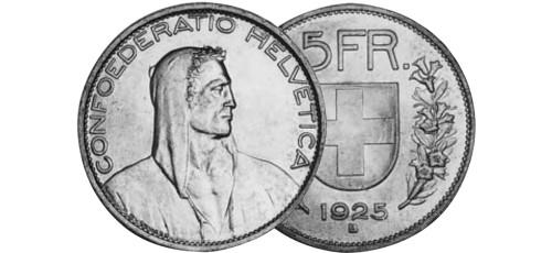 Srebrnjak 5 franc Helvetica Wilhelm Tell 1922-1928