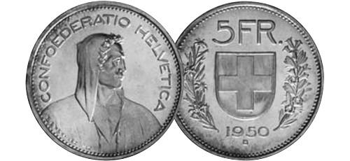 Srebrnjak 5 franc Helvetia Wilhelm Tell, 1931-1969