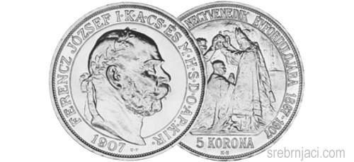 Srebrnjak 5 korona Ferencz Jozsef 1907.
