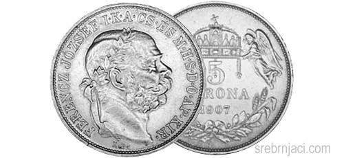 Srebrnjak 5 korona Ferencz Jozsef od 1906. do 1909.