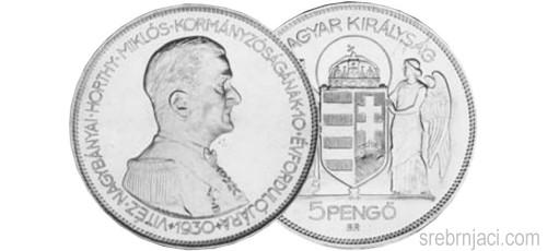 Srebrnjak 5 pengo Horthy Miklos, 1930.