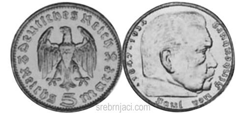 Srebrnjak 5 reichsmark 1935-1939