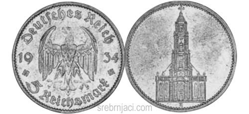 Srebrnjak 5 reichsmark Potsdam 1934