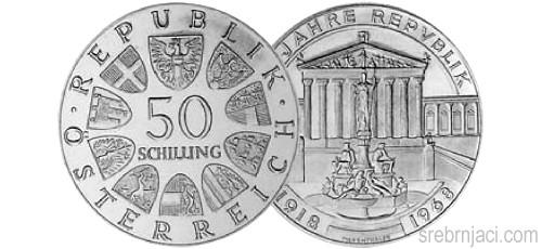Srebrnjaci 50 schilling 50 Jahre Repvblik 1918-1968