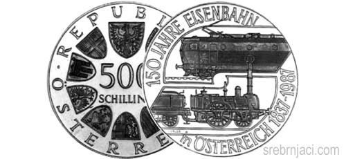 Srebrnjaci 500 schilling od 1983. do 2001.