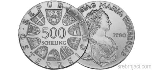 Srebrnjaci 500 schilling Maria Theresia 1980