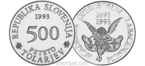 Srebrnjak 500 tolarjev Academia Operosorum