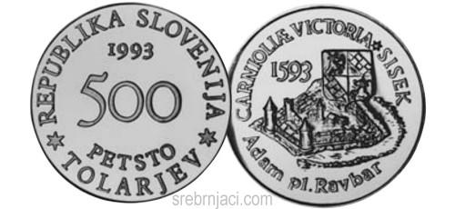 Srebrnjak 500 tolarjev Carnioliae Victoria Sisek