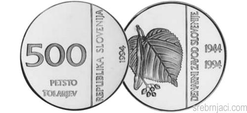 Srebrnjak 500 tolarjev Denarni zavod Slovenije