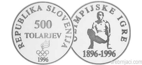 Srebrnjak 500 tolarjev Olimpijske igre 1896-1996